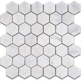 Oriental White 2x2 Hexagon Honed Mosaic