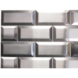 """Oddysey Subway 3""""× 3""""  Stainless Steel Mosaic"""