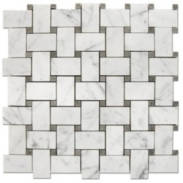 Oriental White With Gray Dot Basketweave Mosaic