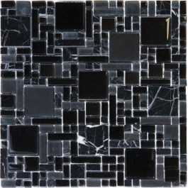 Black Marble & Glass Magic Pat 12X12 Blend