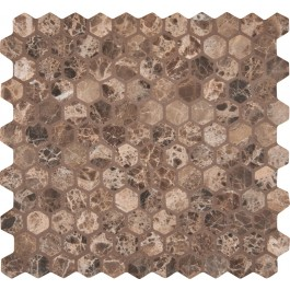Emperador Dark hexagon 12X12 Tumbled