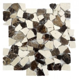 Emperador Mocha 12X12 Interlocking Designer Flat Pebble
