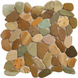 Golden Bali Mix 12X12 Interlocking Indonesia Pebble Tile