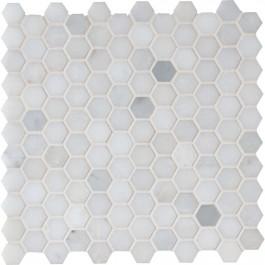 Greecian White 1x1 Hexagon Polished Mosaic