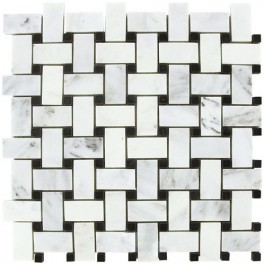 Arabescato Carrara Polished Basketweave Mosaic