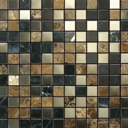 Stainless Steel and Stone 1x1 Honed/Polished Blend Mosaic