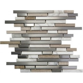 Stainless Steel +and White Stone Interlocking Blend Mosaic