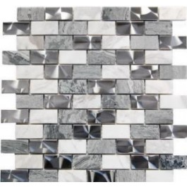 Stainless Steel and Gray Stone 1x2 Interlocking Blend Mosaic