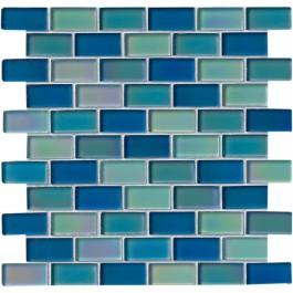Iridescent Blue Blend 1x2x8mm Brick Glas