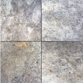 Silver Travertine 16X16 Honed Unfilled Tumbled