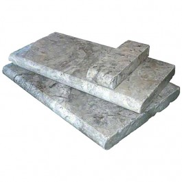 Silver Travertine 16X24 Hon / UF / Tumbled / One Long Side Bull Nose