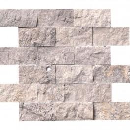 Silver Travertine 2x4 Split Face Mosaic