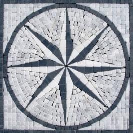 Black/White Star Medallion 12x12 Tumbled