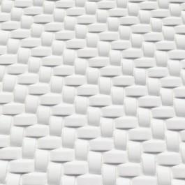 Whisper White Arched Herringbone 12X12 Glossy