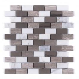 Wooden Brick Oriental White 1x2 Honed Mosaic