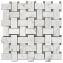Oriental White With Gray Dot Basketweave Mosaic