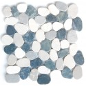 White & Grey Mix Natural 12X12 Interlocking Indonesia Flat Pebble Tile