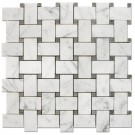 Oriental White With Gray Dot  12x12 Basketweave Mosaic