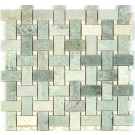Ming Green 12x12 Polished Basketweave Mosaic