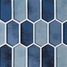 Boathouse Blue Picket Pattern Glass Mosaic