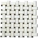 China White With Black Dot Basket Weave Mosaic