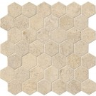 Coastal Sand 12X12 Hexagon Honed Travertine Mosaic