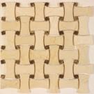 Cream Marfil + Spanish Dark 12x12 Polished Basketweave Mosaic