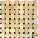 Crema Marfil Basket Weave Emperador Cafe 12x12
