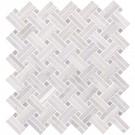 Greecian White With Gray Dot Basketweave Polished Pattern Mosaic