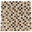 Crema Marfil Emperador Light/Dark 5/8X5/8 Blend Marble Mosaic