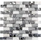 Stainless Steel and Gray Stone 1x2 Interlocking Blend Mosaic