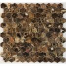 Emperador Dark 1x1 Hexagon Polished Marble Mosaic