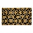 Hexagon Black Natural Coir 22X36 Door Mat