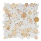 Pineapple Onyx / Cystal Snow Heart Mix 12x12 Polished Mosaic