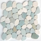 White & Green Mix Natural 12X12 Interlocking Indonesia Pebble Tile